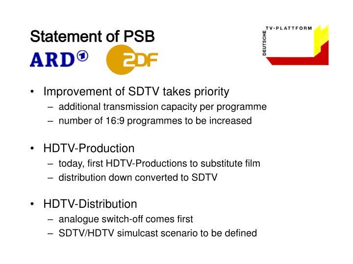 Statement of PSB