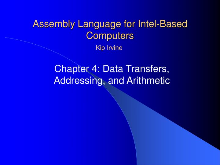 assembly language for intel based computers n.