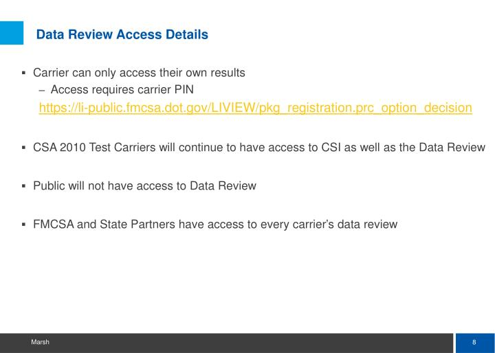 Data Review Access Details