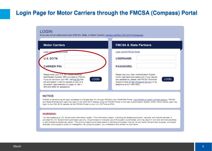 Login Page for Motor Carriers through the FMCSA (Compass) Portal