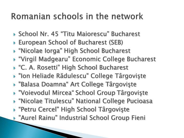 Romanian schools in the network