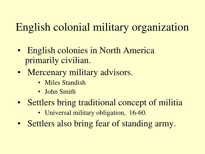 English colonial military organization