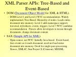 xml parser apis tree based and event based