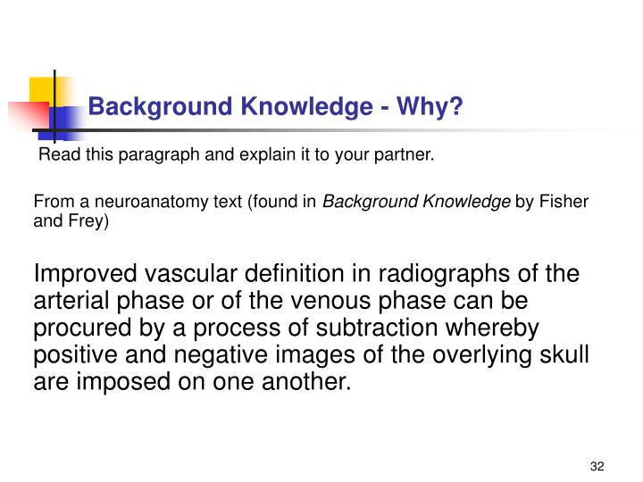 Background Knowledge - Why?