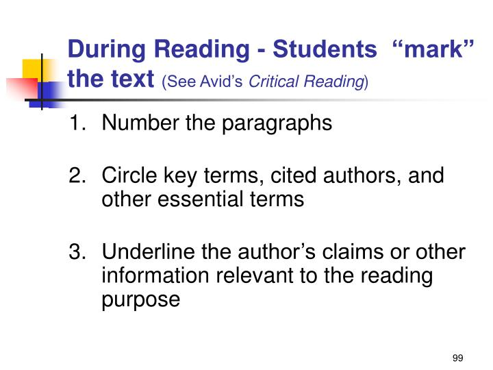 "During Reading - Students  ""mark"" the text"