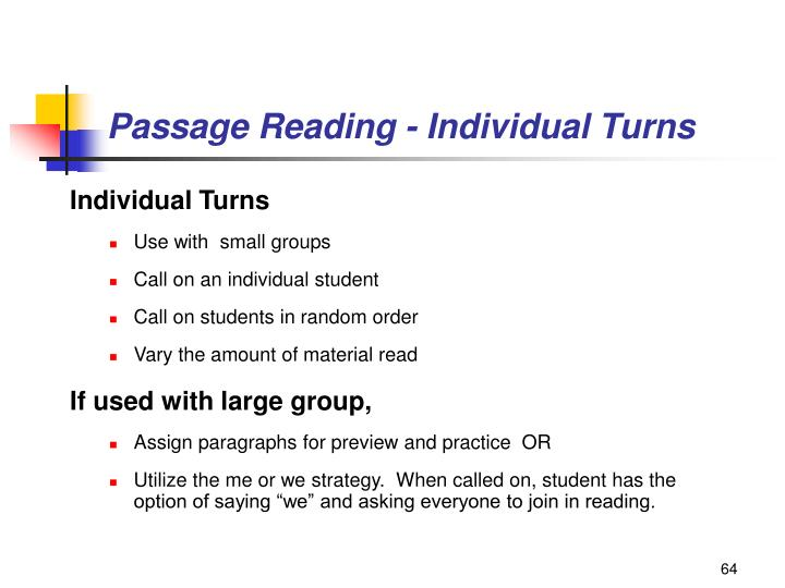 Passage Reading - Individual Turns