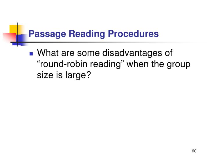 Passage Reading Procedures