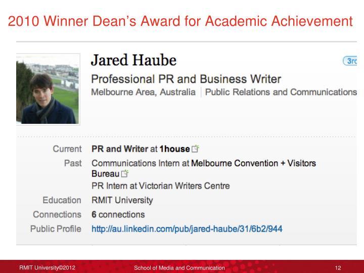2010 Winner Dean