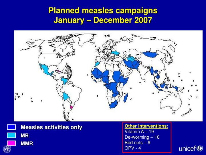 Planned measles campaigns