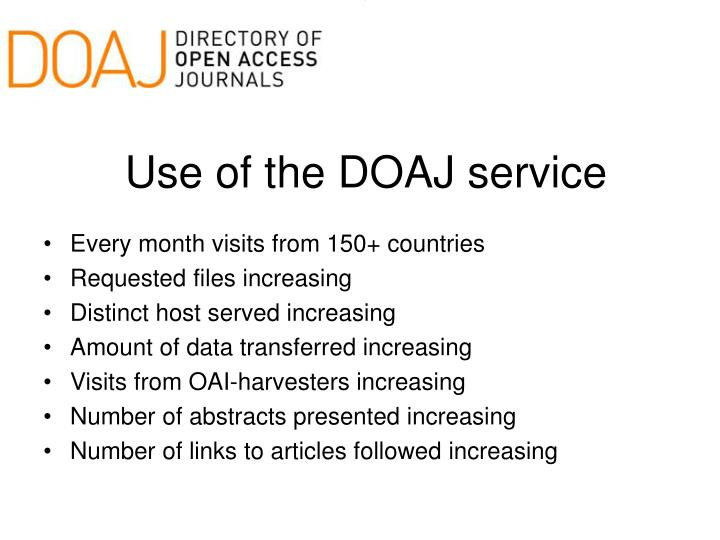 Use of the DOAJ service