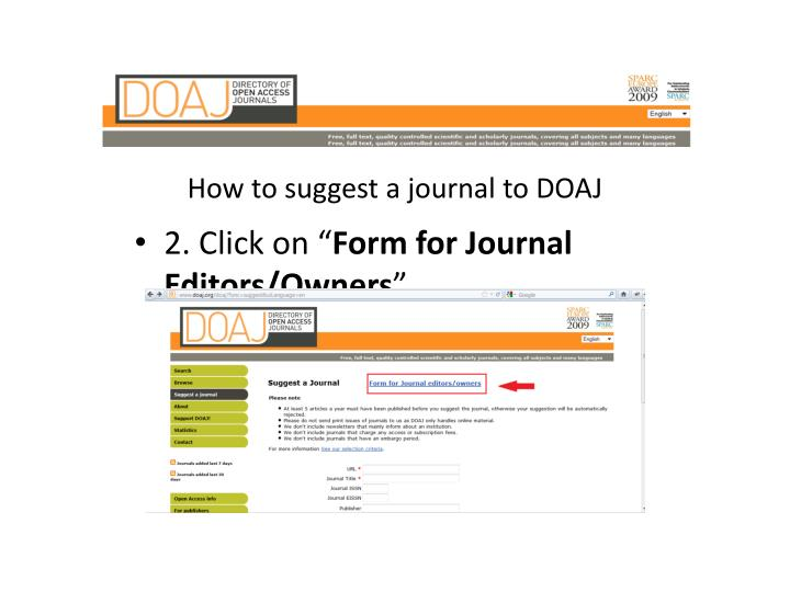 How to suggest a journal to DOAJ