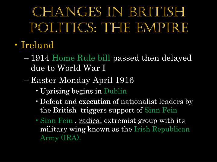 Changes in British Politics: The Empire