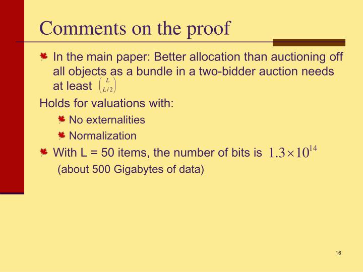 Comments on the proof
