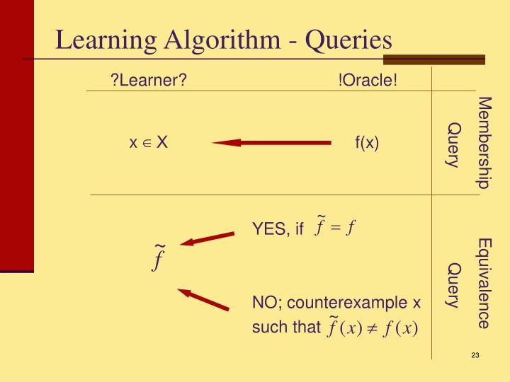 Learning Algorithm - Queries
