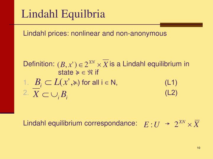 Lindahl Equilbria