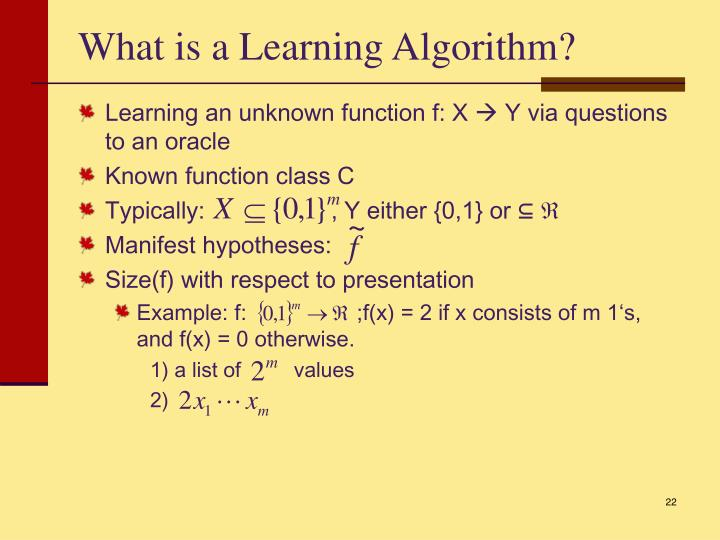 What is a Learning Algorithm?