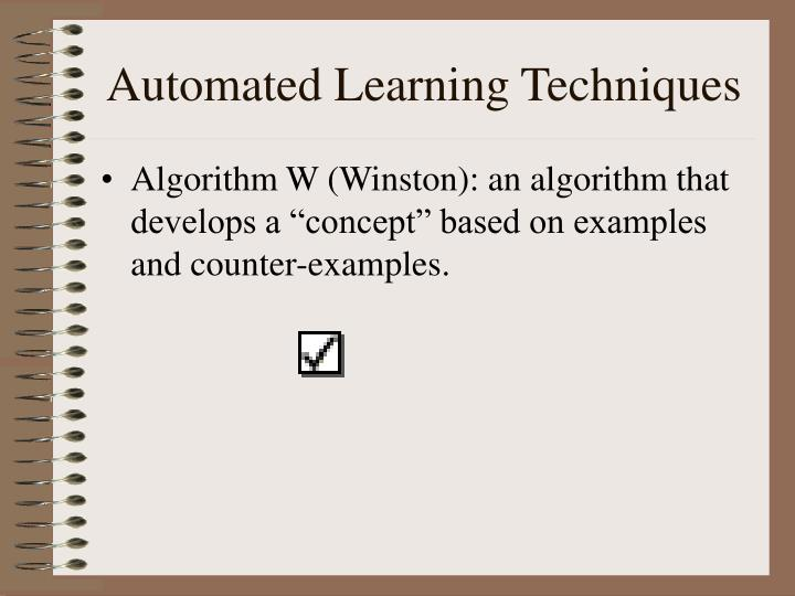 Automated learning techniques1