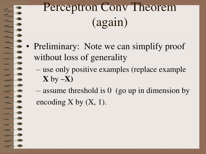 Perceptron Conv Theorem (again)