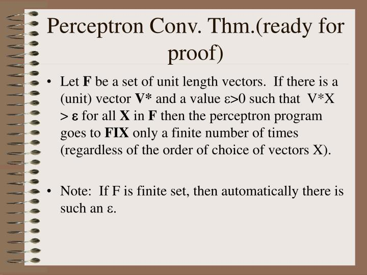 Perceptron Conv. Thm.(ready for proof)