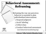 behavioral assessment reframing