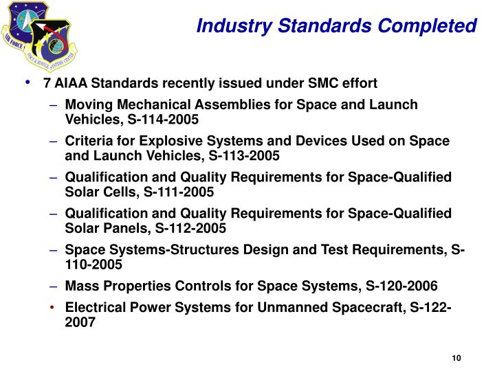 Industry Standards Completed