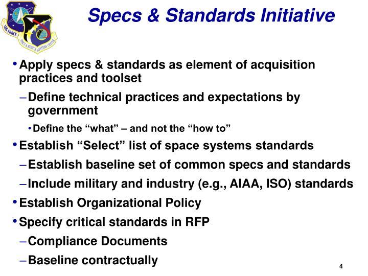 Specs & Standards Initiative