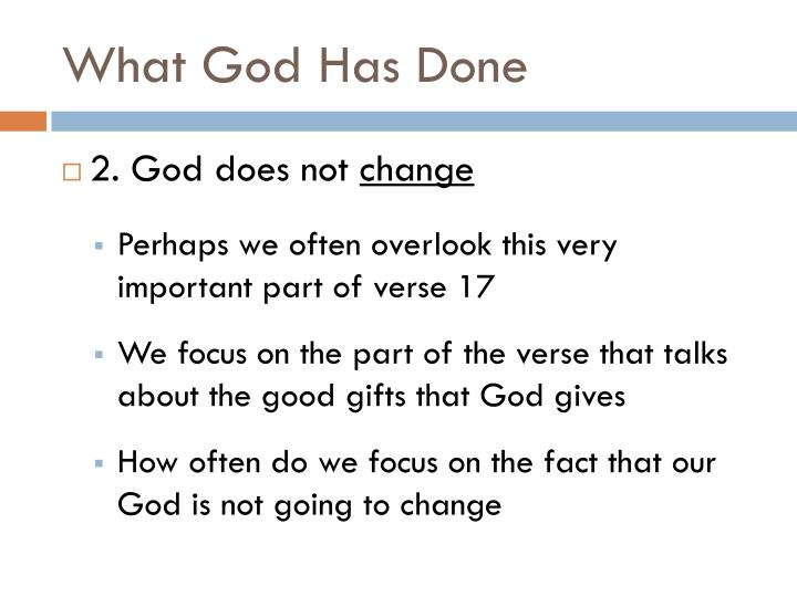 What God Has Done