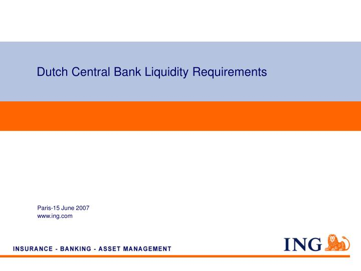 dutch central bank liquidity requirements n.