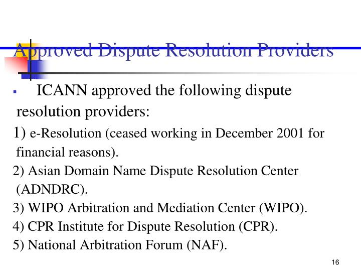 Approved Dispute Resolution Providers