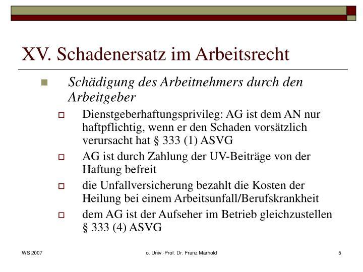 XV. Schadenersatz im Arbeitsrecht