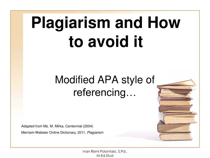 plagiarism and how to avoid it n.
