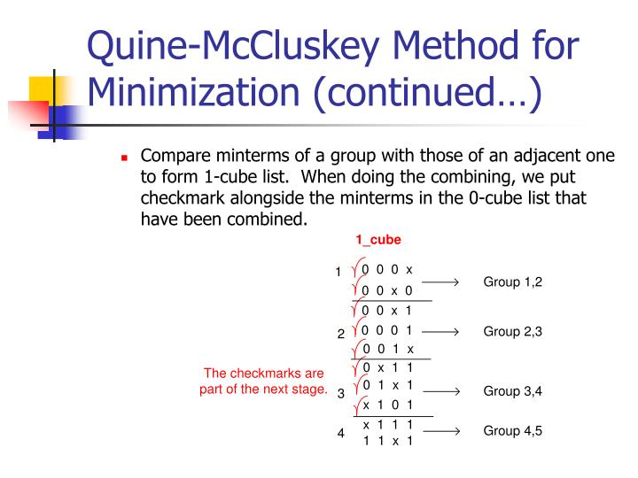 Quine-McCluskey Method for Minimization (continued…)