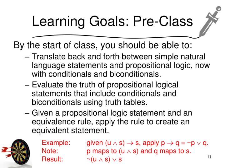 Learning goals pre class