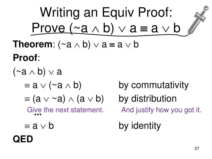 Writing an Equiv Proof: