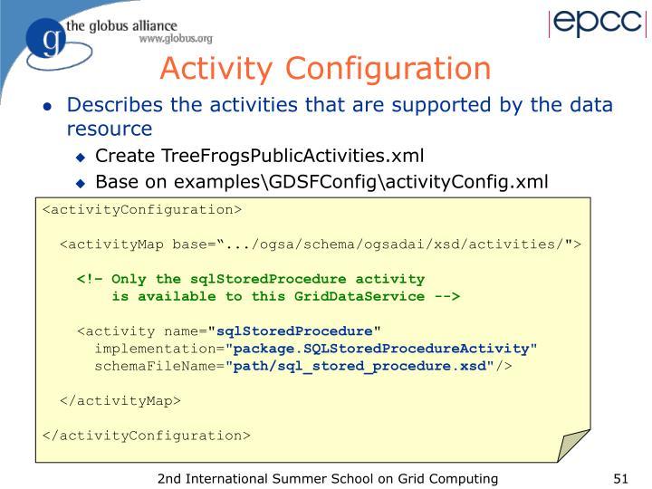 Activity Configuration