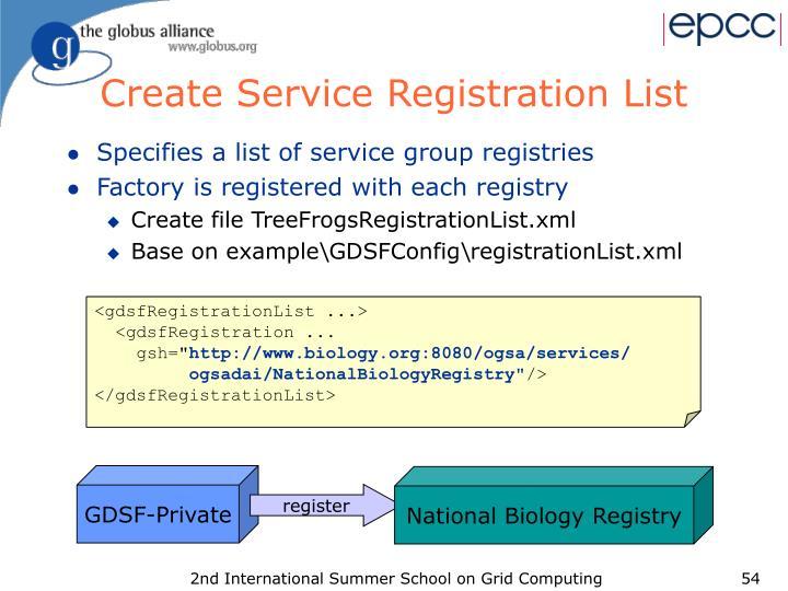 Create Service Registration List