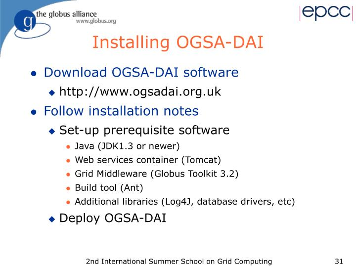 Installing OGSA-DAI