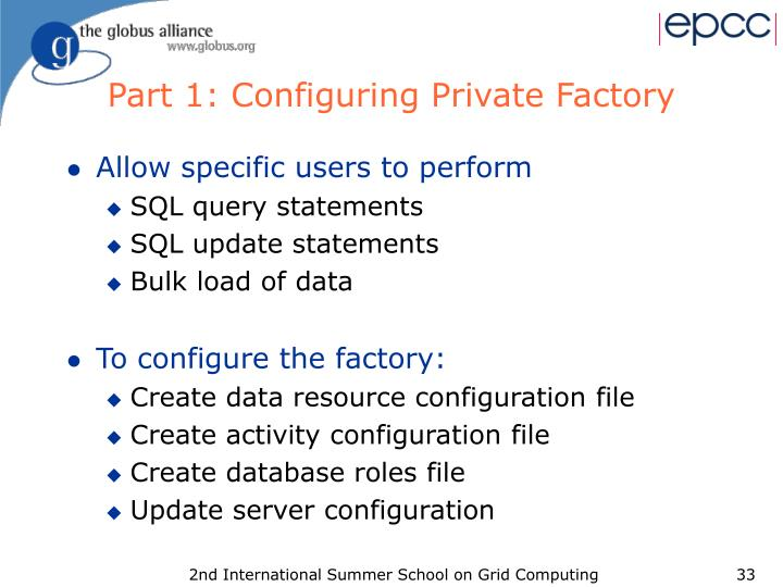 Part 1: Configuring Private Factory