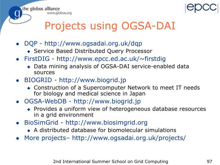 Projects using OGSA-DAI