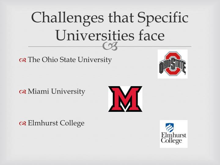 Challenges that Specific Universities face