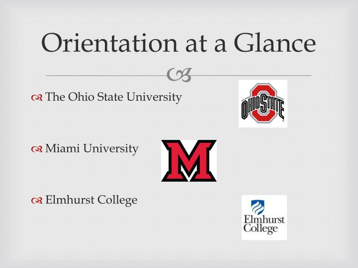 Orientation at a glance