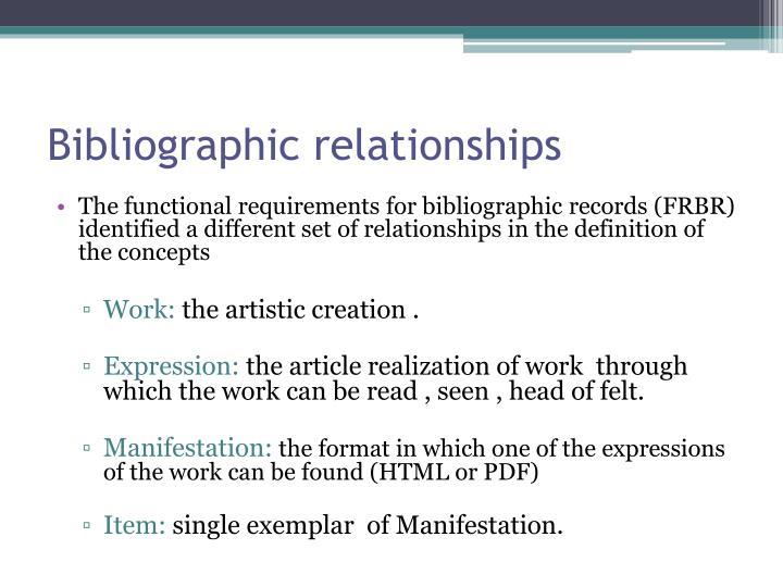 Bibliographic relationships