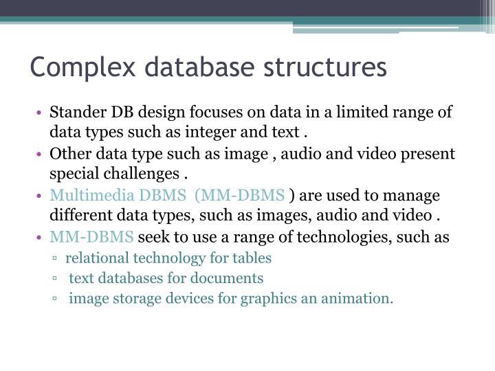 Complex database structures
