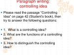 paragraph writing controlling idea