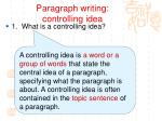 paragraph writing controlling idea1