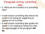 paragraph writing controlling idea2