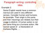 paragraph writing controlling idea5