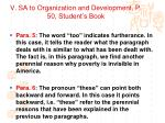 v sa to organization and development p 50 student s book