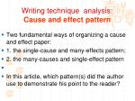 writing technique analysis cause and effect pattern