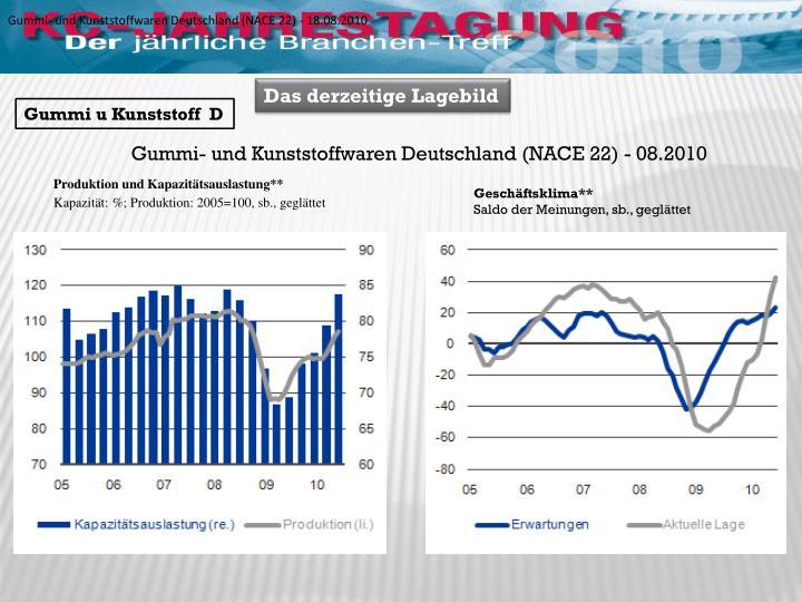 Gummi- und Kunststoffwaren Deutschland (NACE 22) - 18.08.2010